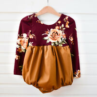 Adorable Newborn Baby Girl Flower Long Sleeve Romper Jumpsuit Outfits Clothes