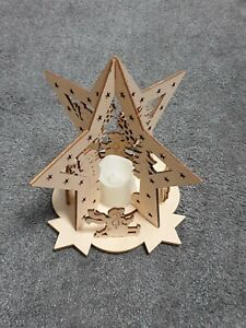 Weihnachtsdeko aus Holz mit LED Kerze
