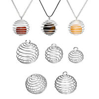 Silver Plated Spiral Bead Cages Pendants Jewelry Craft DIY Making Findings-am