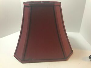 Classic Style Cut Corner Square Lamp Shade Burgundy Black Trim Spider Fitter