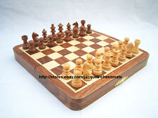 "NEW 7"" HANDMADE TOP QUALITY MAGNETIC WOODEN CHESS SET - FREE SHIPPING!!!"
