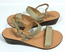 MISMATCHED Ancient Greek Sandals Clio Wedge SZ 38/ 39 Taupe Snake Leather Ankle