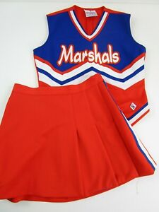 """MARSHALS Cheerleader Uniform Outfit Adults Sizes 32-36"""" Top 24-27"""" Skirt Choose"""