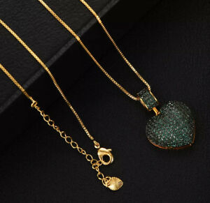14k Gold Plated Green Heart Pendant Necklace Ring made w/ Swarovski Crystal Pave