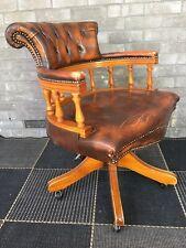 Vintage Brown Leather Captains Recliner, Swivel, Desk Chair