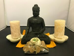 Stone Buddha set complete with 2 candles 2 Marble Holders & Incense set
