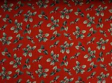 CHRISTMAS HOLLY ON RED / CRIMSON 100% Cotton Quilt Fabric *by the 1/2 yard* BTHY