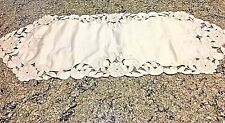 "MADEIRA vintage 30"" Cut Work Embroidery Floral Table Runner Centerpiece Bx39"