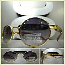 Men Classy Sophisticated SUN GLASSES Small Oval Gold & Wood Wooden Fashion Frame