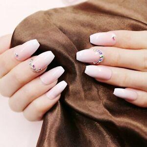 24Pcs Light Pink Fake Nails with Rhinestones Adhesive Full False Press On Nails