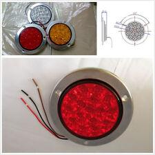 2 Pcs 12-24V Round Clear Lens Red 16 LED Car Trucks Brake Light Tail Stop Light