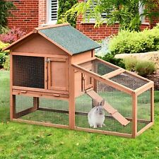 Pawhut Outdoor Small Animal Two-Level Fir Wood Hutch Slide Out Tray, Brown