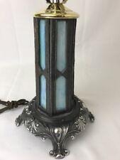 Vtg L&L WMC Art Deco Leaded Slag Glass Table Lamp Lit Base Ornate Blue Silver