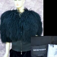 EMPORIO ARMANI New sz 48 - 12 Womens $1975 Fur Top Wrap Jacket black