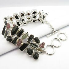 Free Gift BOX ! 925 Silver Natural TOURMALINE & Other Stones Bracelet 8.1 Inches