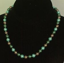 8MM Blue/Green/Purple South Sea Shell Pearl Necklace NEW (in a gift bag)