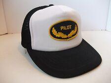 Vintage Pilot Patch Hat Black White M/L Snapback Trucker Cap