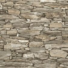 Beige Stone Wallpaper Realistic 3D Effect Natural Wall Design 1282