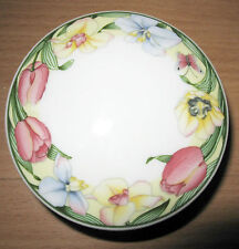 """Villeroy & Boch Canari Floral Rim & Butterfly 3"""" Candy Box With Lid Trinket"""