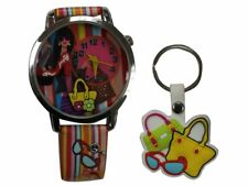 Time Design Kids Girls Watch Keyring Gift Set Stylish Colourful