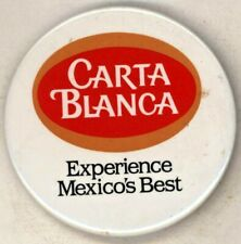 "1980's Carta Blanca Beer 2 1/2"" Pinback Button"