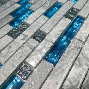Emerald Blue Glass & Marble Mosaic Tiles Sheet For Walls Floors Bathroom Kitchen