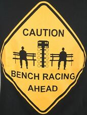 Mens Sz M Caution Bench Racing Ahead Car Races Black TShirt T-shirt Tee