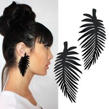 Fashion Black Color Acrylic Feather Shape Big Dangle Earrings Free Shipping