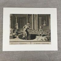 Antico Incisione Stampa 18th Secolo Picart Dio Vishnu Indiano Divinità