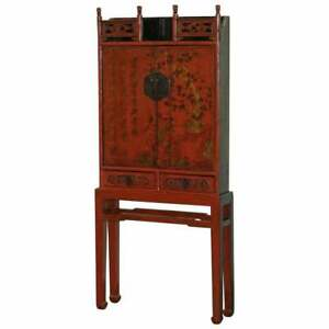 EXQUISITE SHANXI PROVINCE 18TH CENTURY CHINESE RED LACQUER CABINET ORNATE CARVED