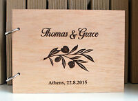 wood guest book A5  personalized, wooden wedding photo album,olive branch book