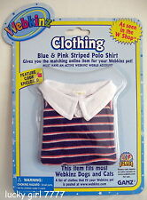 Webkinz Clothing Blue & Pink STRIPED POLO SHIRT w/ code 4 Your Pet FREE US SHIP