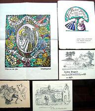 1914 LOTTO DI 5 CARTONCINI AUGURALI SOCIETA' BIBLIOFILA VIEUX PAPIER PARIGI