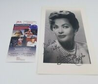 """Yvonne DeCarlo Movie Actress Signed Autographed 8.5"""" x 5.5"""" Paper Photo JSA COA"""