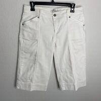 Cabi Bermuda Modest Jean White Shorts Denim Solid Basic Summer Sz 6