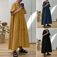 ZANZEA Women A-Line Flare Swing Shirt Dress Solid Kaftan Baggy Long Maxi Dresses
