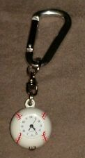 METAL BASEBALL KEYCHAIN CLOCK KEYRING KEY CHAIN RING RARE HTF EUC NEEDS BATTERY