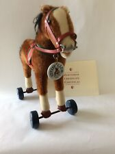 "Steiff 13"" Horse on Wheels Brown Mohair 1929 Replica Limited Edition 1999"