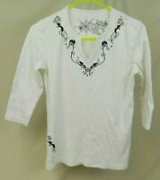 Coral Bay Womens Top White with Black Cats Vines Size Missy Medium Halloween
