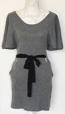 100% CASHMERE XS/10 TWG CHARCOAL BELT TIE BATWING SIDE POCKET KITTEN SOFT DRESS