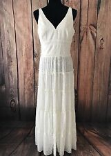 Women's NWT $149 Tommy Hilfiger Chiffon Burnt Out Tiered Long Dress Sz 8 Ivory