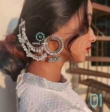 Indian Traditional Bollywood Silver Oxidized Long Jhumka Jhumki Earrings