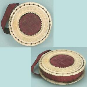 Antique Carved Bone Pin Cushion / Disc * English * Circa 1850