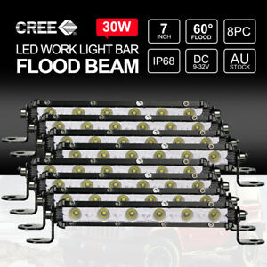 "8PCS 7"" inch 30W FLOOD LED Light Bar CREE Super Slim Offroad Work Lamp 12V 24V"