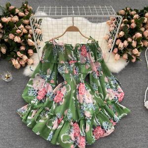 Lady Jumpsuit Culotte Dress Off Shoulder Floral Puff Sleeve Ruffle Chiffon Dress