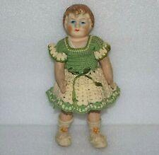 Vtg 1920s Papier Paper Mache Disc Joints Cloth Body German Doll original clothes