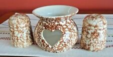 Country Home Collection Salt And Pepper Shakers & Candle Jar Brown Porcelain Set
