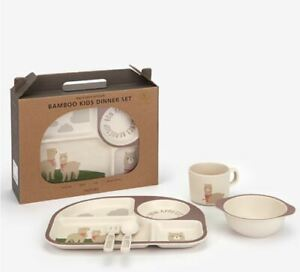 Bamboo Kids Dinner set Eco Friendly BPA Free Durability Food Tray Bowl Cup Set