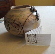 Signed Ltd Ed Steven Kaye Southwestern Hand Carved Painted Pottery Vase Beads