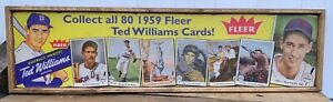 Antique Style Ted Williams 1959 Fleer Baseball Card Ad Wood Printed Sign ! 6x24